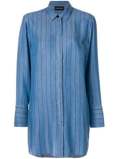 By Malene Birger - oversized pinstripe shirt - women - Lyocell - 36, Blue, Lyocell