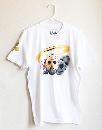 white t-shirt unisex clubwear gold ring mask