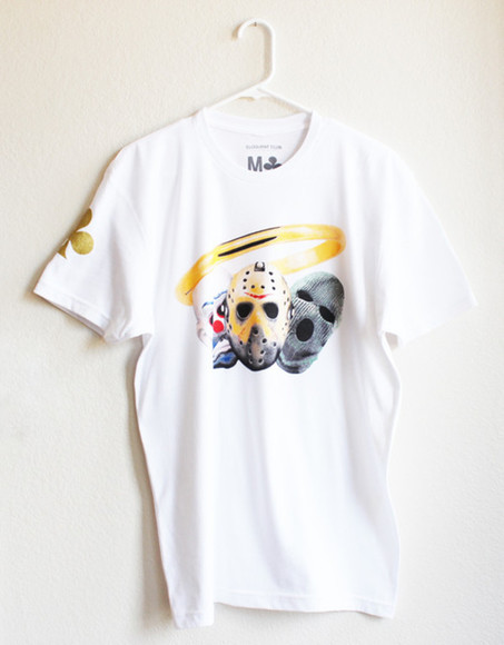 gold ring t-shirt unisex white club masks