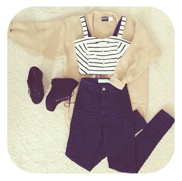 sweater bustier stripes skinny jeans high waisted heels wedges cute knitwear cardigan jeans shirt shoes