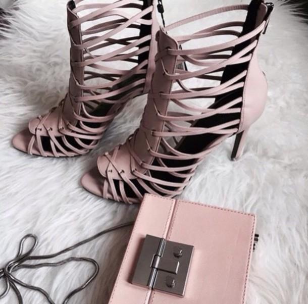 shoes zara shoes zara sandals sandal heels strappy sandals blush pink sandals bag pink bag clutch