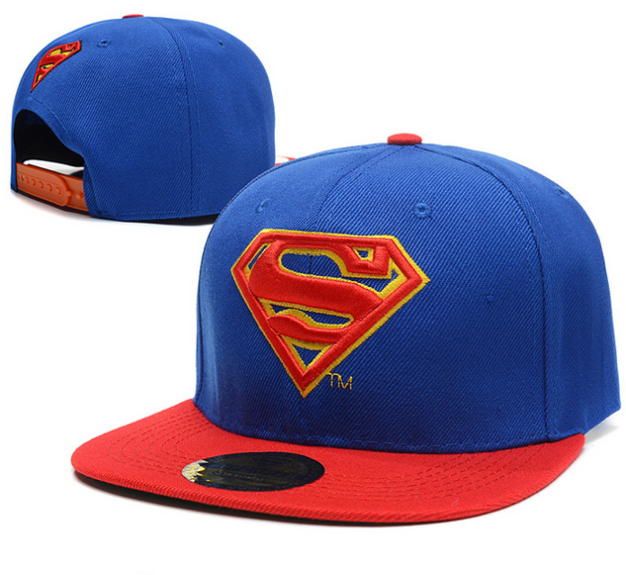 Superman hip hop snap back caps (black & blue)