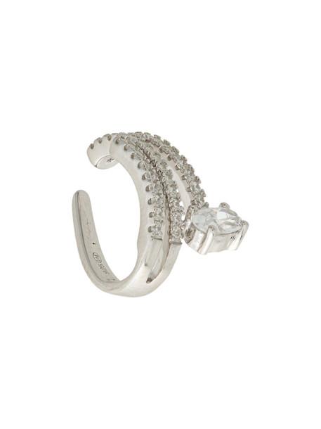 Apm women layered earrings silver grey metallic jewels