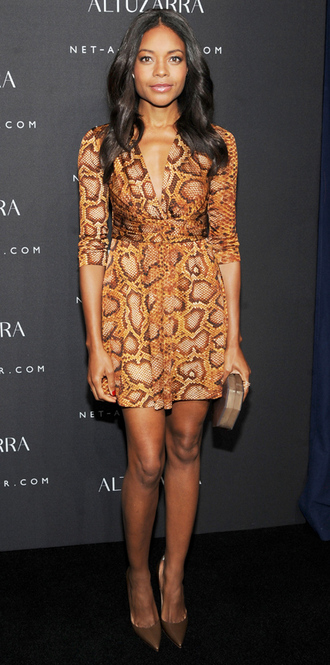 dress mini dress naomie harris snake print fashion week 2014