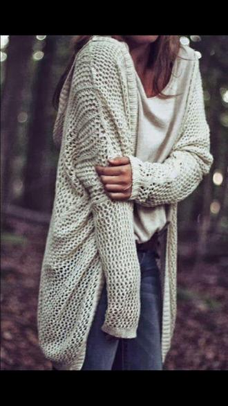 cardigan open knit net holes
