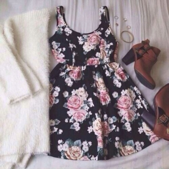 black floral pattern dress fleurs bottines sweater same