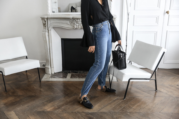 modern legacy blogger jeans shirt bag shoes black blouse bell sleeves loafers fall outfits handbag