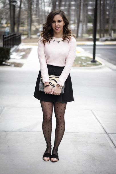 Sweater: oh va darling, blogger, tights, pink sweater, black skirt ...