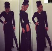 dress,clothes,black dress,thy high heels,maxi dress,double split skirt,high split,teyana taylor,gold,shoes,top,slit dress,black,bag,long heels,necklace,earrings,white nails,messy bun,gold chain,jewels,celebrity style,white,grey,brown,pink,purple,res,orange,yellow,red,blue,green,dreas,maxi,long,black double slit,double slit maxi dress,slit,split sexy dress,splits,shirt,t-shirt,black girls killin it,style,fashion,split side dresses