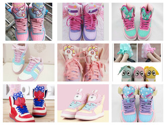 shoes sweet bunny pastel sneakers pony heart