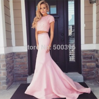 Aliexpress.com : Buy Lovely Pink Short Sleeve Prom Dress 2015 Vestidos de Formatura Mermaid Evening Dress with Pearls Separete Gowns from Reliable Prom Dresses suppliers on Su Zhou Wedding &Events Co,LTD | Alibaba Group