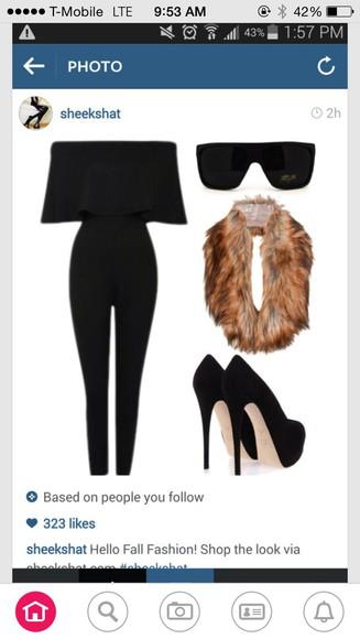 faux fur scarf fur blouse jumpsuit black