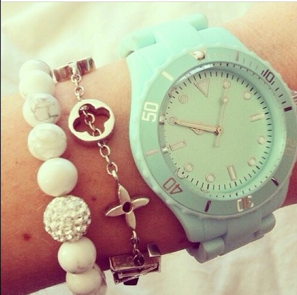 jewels watch gold clock wrist mint white ice silver time tan summer bracelet charm bracelet charm flowers flower chain diamond balls beads