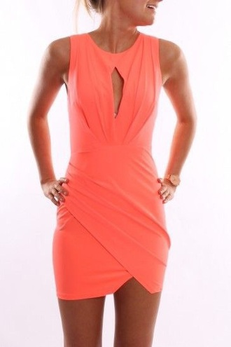 dress peach pink salmon sleeveless bodycon dress short dress