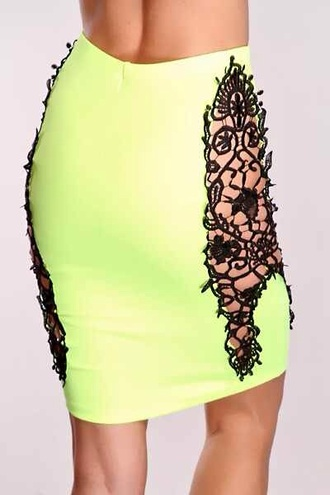 skirt neon bodycon spandex
