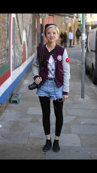 ankle boots shirt jacket varsity jacket shorts leggings beanie