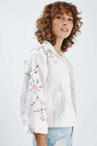 jacket denim jacket embroidered white jacket