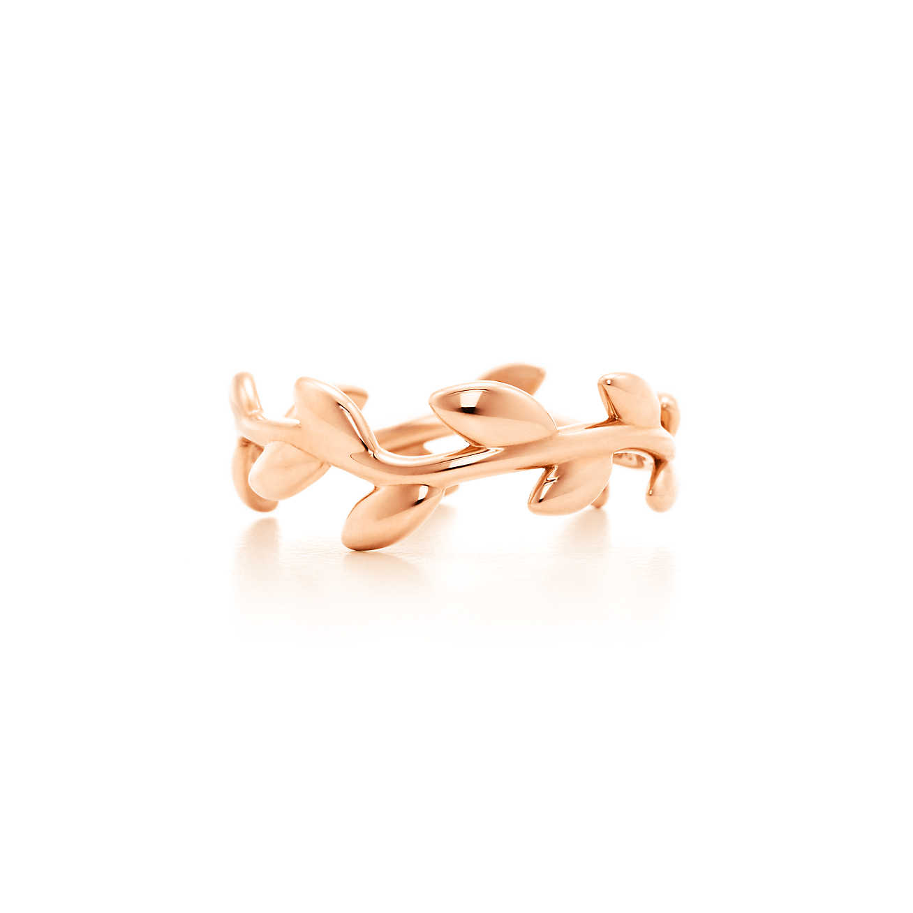 Paloma Picasso® Olive Leaf narrow band ring in 18k rose gold.