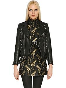 Grained leather moto jacket