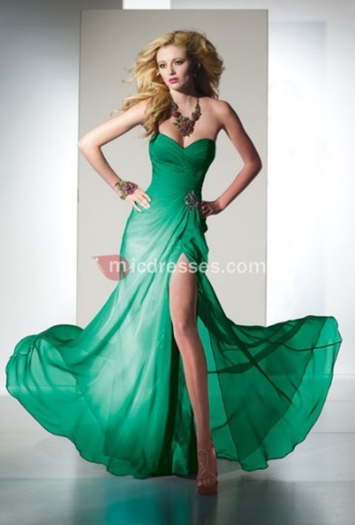 chiffon green floor a-line sweetheart empire rhinestone ruched front split