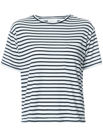 t-shirt shirt striped t-shirt women blue top