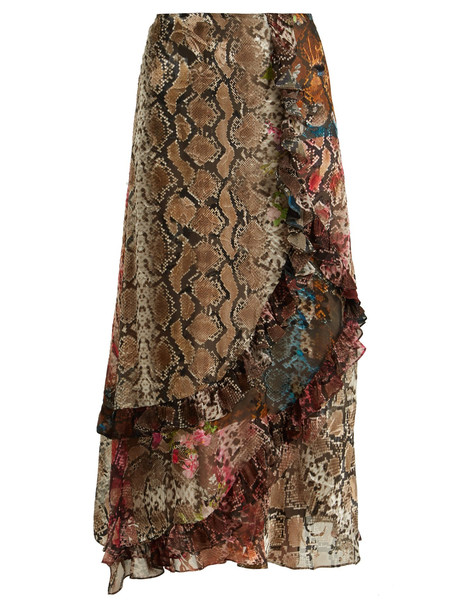 skirt snake floral print satin