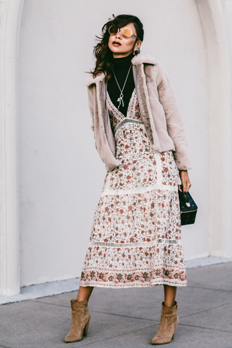 stuffshelikes blogger jacket dress sunglasses bag jewels fall outfits winter outfits fur coat ankle boots midi dress
