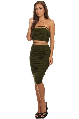 dress set skirt top shirt tube top straps midi ruched tight bodycon trendyish