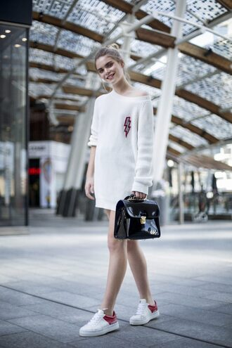 shoes dress white dress short dress mini dress bag handbag black bag sneakers white sneakers