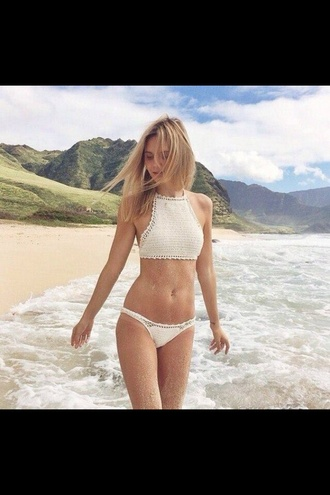 swimwear white swimwear crochet bikini dress blond hair lovely girly summer no brands beach love