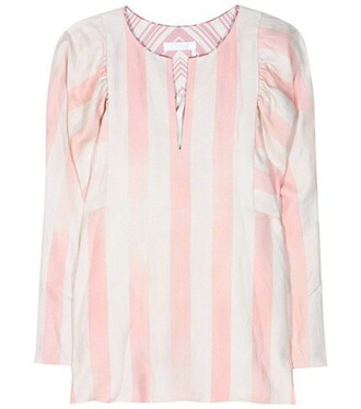 shirt silk pink top