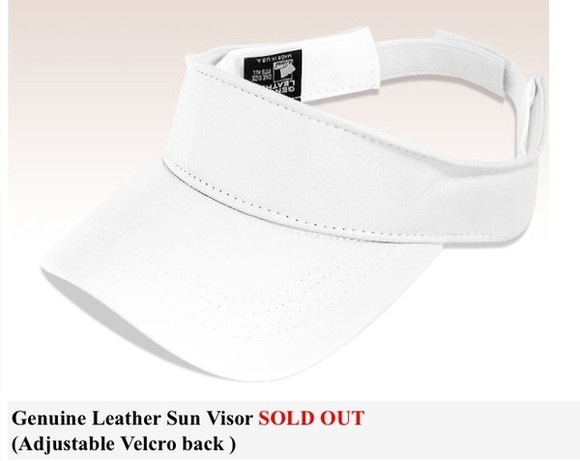 visor hat leather white
