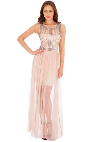 dress maxi mesh embellished bodice feminine summer evening outfits sheer