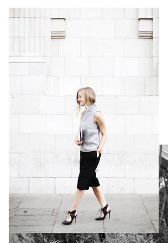 framboise fashion blogger sleeveless bermuda black heels