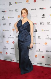 dress,prom dress,gown,navy,strapless,christina hendricks
