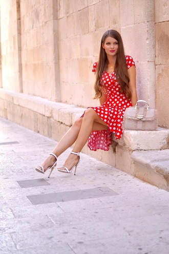 only my fashion style blogger dress bag shoes polka dots red dress sandals high heel sandals handbag summer outfits summer dress