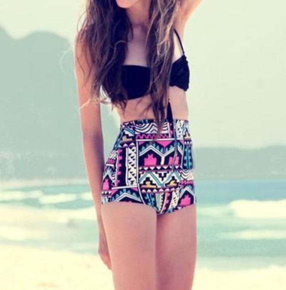 swimwear bikini pink, black, blue, white, aztec, pattern, high-waisted black bikini shorts high wasted aztec high waisted bikini high waisted tribal print and black swimsuit black swimtop