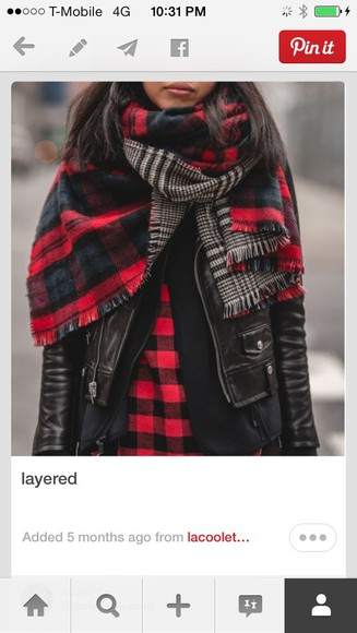 black wool scarf flannel red