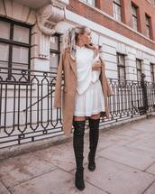 dress,white dress,mini dress,ruffle dress,button up,bell sleeves,thigh high boots,suede boots,coat,wool coat,silk scarf