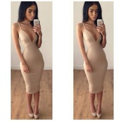 nude dress,sexy dress,straps,bodycon dress,beige,bandage dress,dress,low cut,tumblr girl,clothes,nude dress beautiful,nude,knee length dress