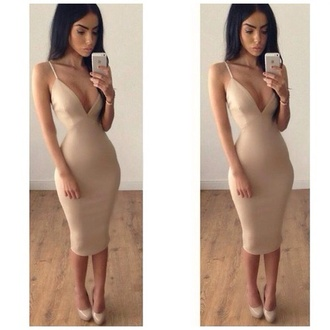 nude dress sexy dress straps bodycon dress beige bandage dress dress low cut tumblr girl clothes nude dress beautiful nude knee length dress