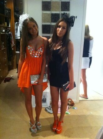 orange dress prom dress dress clothes
