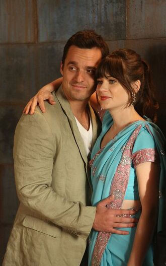dress new girl tv show blue dress menswear mens blazer zooey deschanel jake johnson celebrity