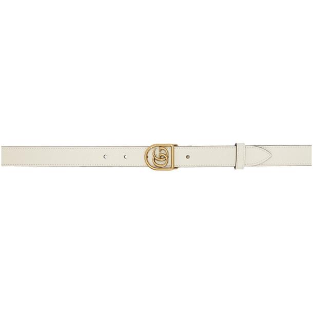 Gucci White Small GG Marmont Belt