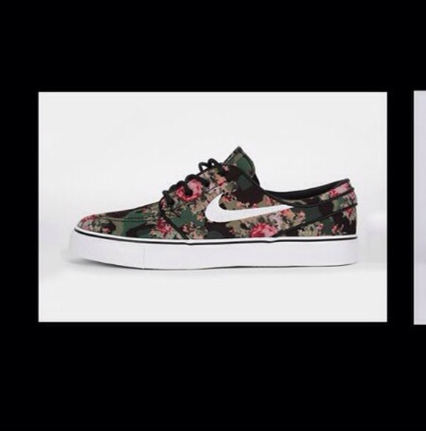 shoes green pink nike nike shoes cute palm tree print flowers camouflage camouflage