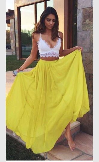skirt lace crop top maxi skirt