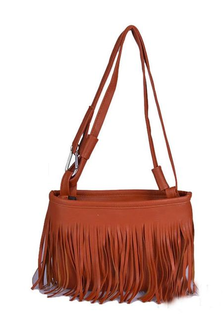 Women's pu leather tassels pillow shaped single shoulder bag online