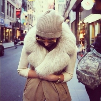 jacket sweater beige fur fur vest fluffy vest white leather leather jacket beanie sunglasses coat casual