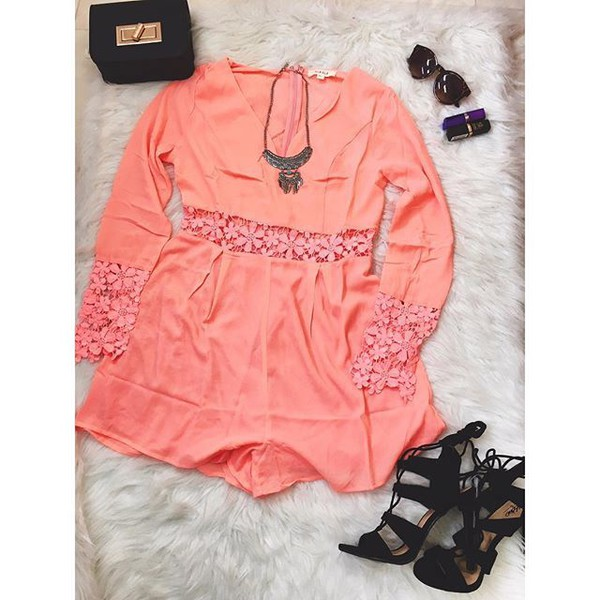 romper inselly pink lace lace romper