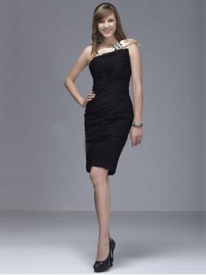 Buy Tempting Black Sheath/Column One-shoulder Knee Length Prom Dress  under 200-SinoAnt.com